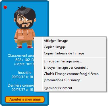 Enregistrer l'avatar Jeux-Gratuits